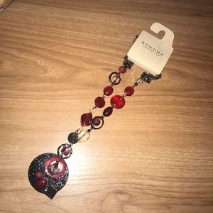 Dark silver and red necklace